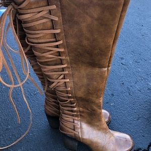 Cognac brown lace up back boots
